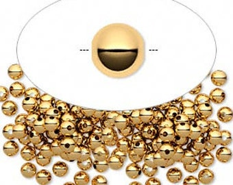 Round Gold Plated Brass 3mm Smooth Metal Beads (100)