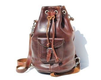 Vintage Mahogany Brown Thick Leather Backpack Convertible Bucket Bag