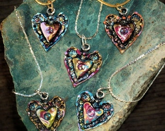 Hand Painted Colors of the Heart Pendant