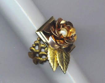 Gold Plated Adjustable Floral Ring . Vintage Petals, Leaves & Pearl . Gold Plated Filigree Flower Ring - Rose Ring by enchantedbeas on Etsy
