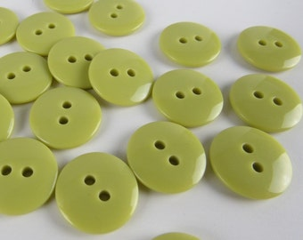 Plain Gloss Olive Green Buttons 15mm 24 pieces