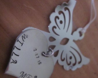 Angel Bookmark get your names est and date or year hand stamped onto stainless steel heart. Book lover. Christmas gift.
