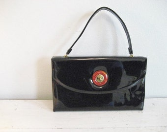 Vintage Large Black Patent Leather Handbag with Turn Key Closure