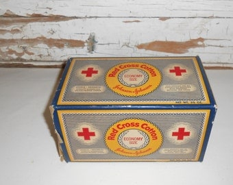 Vintage Red Cross Cotton Gauze Pad, Johnson And Johnson Cotton, Vintage Red Cross, Vintage Bathroom Decor, Vintage First Aid,