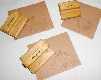 Vintage Wood Rubber Ink Stamps, Jinrikisha Ink Stamp, Hut Ink Stamp, Scrapbooking