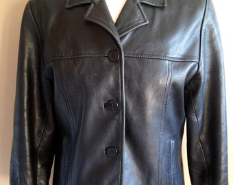 Cute Chic Black Leather Jacket Small