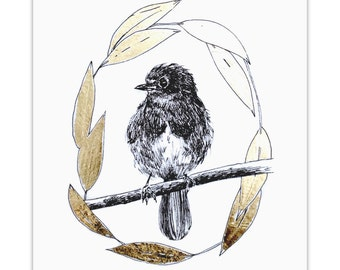 Robin- Gold Leafed Archival Print