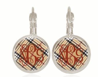 Monogram Earrings, Plaid Earrings, Thanksgiving Earrings, Fall Earrings, Personalized Gift, (Tan and Red Plaid - Drop Style Earrings)