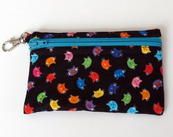 Multi Cats - Clip Coin Purse with Zipper Front