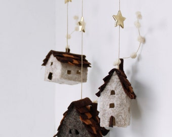 Houses ornaments felt,  Set of 3 rustic cottages, Handmade Housewarming Gifts, Earth, brown,cream shades,