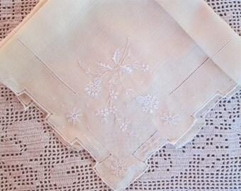 Embroidered Handkerchief Yellow Linen Antique Hankie Vintage Hanky