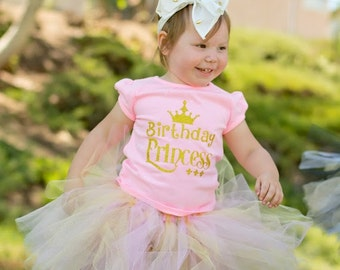 Pink Birthday Princess Tshirt with Pink & Gold Tutu, Perfect for 1st Birthday, Cake Smash Birthday Photos