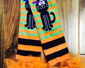 Happy Halloween Black Cat Ruffle tutu leg warmers, Tutu Leggings, Perfect for your little pumpkin, Halloween costume, party, photos