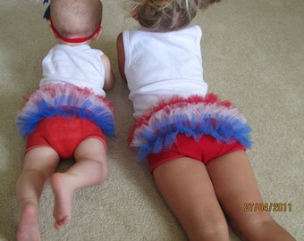 4th of July Tutu Bloomers - ruffle tutu diaper cover- Fits 0-24M Perfect for Memorial day, 4th of July, Photo Prop, gift - Made & Ready Ship