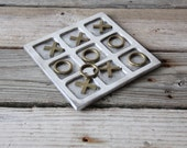 Large Brass & Silver Tic Tac Toe Game
