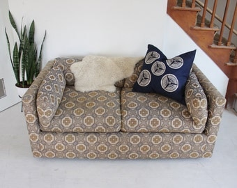 Deep Low Blue & Yellow Flower Graphic Midcentury Sofa (Pair Available)