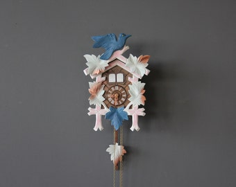 Copper, Blue & Pink German Cuckoo Clock. Working Condition.