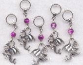 Dragon Stitch Markers 3-D Silver Purple Dragons Set of 5/SM59B