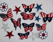15 Americana Flag Butterfly Iron On Appliques Large Set