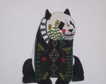 Panda Bear Applique Iron On 7""
