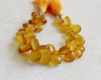 Yellow Chalcedony Briolette Gemstone  Faceted Heart  10.5 to 11.5mm 20 beads 1/2 strand