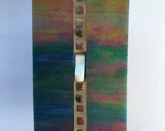 Iridescent Stained Glass, Single Toggle Switch Plate, Turquoise Switchplate, Green Light Switch Cover, Blue Wall Plate, Gold Dimmer, 8375
