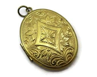 Brass Locket - Scrollwork Victorian Revival