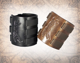 Wolf Leather Cuff, Leather Wristband, Brown Leather Cuff, Leather Bracelet, Black Leather Cuff, Leather Band - Custom to You (1 cuff only)