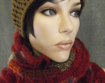 OOAK,Accessory, Freeform Crochet,Brown,Red,Orange,Skull Cap,Patchwork, Hat and Scarf Set,Long,Winter,Women