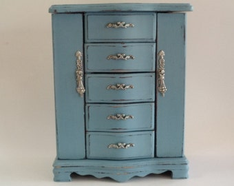 Vintage Hand Painted Blue Distressed Jewelry Box
