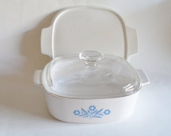 Corningware Blue Cornflower 2 Quart Covered Casserole Dish with Freezer Lid