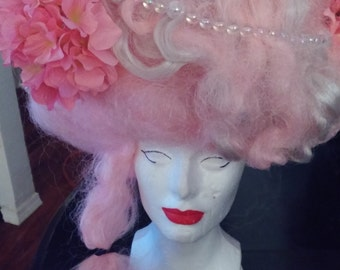 Marie Antoinette Pink Wig With Bubbles Flowers Cage Birds free shipping