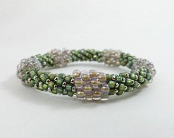 "Bead Crochet Bangle - the ""Pentastic"" in Sweet Grass Green - Item 1533"
