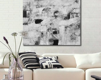 Black and white Abstract Painting, Large Black&White Painting, Original Painting, Textural painting, White painting, free shipping
