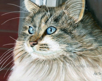 Gray Cat Painting Print, Cat Print, Art Print, Reproduction, Cat, Pet, Looking Out, 8 x 10, Realism, Giclee, Pastel, Painting, Fine Art