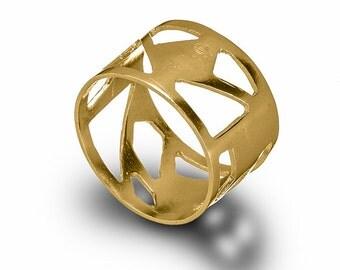14K Gold Asymmetrical Ring , Geometric 14 Karat Gold Ring , Triangles Ring , Geometric Jewelry , Minimalist Ring