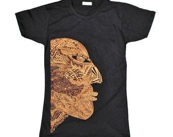 Graphic tee, African Tribal Mask T Shirt for Women - Metallic Copper Rust Bronze Maroon