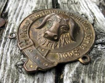 Vintage RAOB Antediluvian Order of the Buffalo embossed gorget link brass No 1
