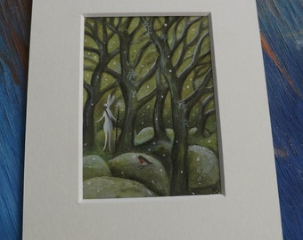 Original painting. Mounted Aceo  'And the Snow began to fall'