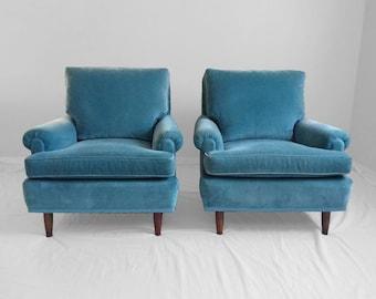 2 mid century MODERN teal velvet & walnut spindle leg club chairs