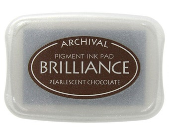 Brilliance Archival Pigment Ink Pad - Pearlescent Chocolate - Brown Ink