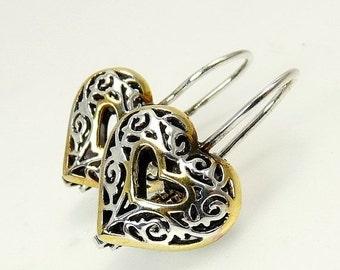 Sterling Silver 925 Filigree Puffy Heart Earrings