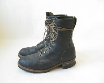 Vintage  Black Leather Ranger Packer Boots. Size 9 Men's