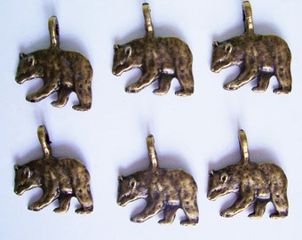 6 Bear Antique Bronze Charms Pendants 1 inch high by 7/8 inch wide
