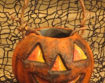 Paper mache Halloween Orange Pumpkin Basket