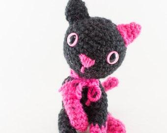 Pink and Black Cat Amigurumi