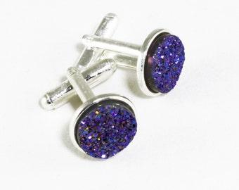 Blue Druzy Cuff LInks Silver Cuff Links Druzy Titanium Bezel Cuff LInks Drusy Cuff Links Drusy Jewelry Wedding Cuff Links FD-CL-105-B/s