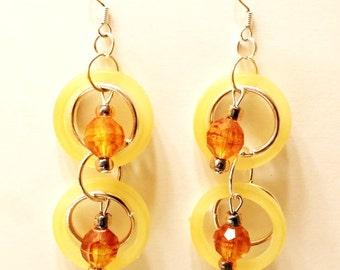 yellow hoop earrings, long bead dangles handmade jewelry