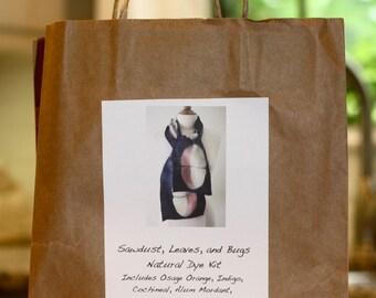 Natural Dye Kit Includes Osage Orange, Cochineal Red, Indigo, and Alum Mordant