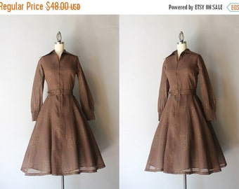 STOREWIDE SALE 1960s Dress / Vintage 60s 70s Golden Floral Full Skirt Dress / 60s Sheer Chocolate Cotton Dress
